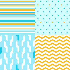 Simple seamless pattern in blue and yellow set, vector