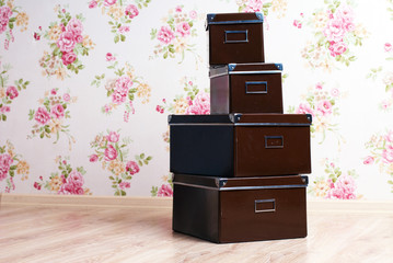 stacked office storage boxes