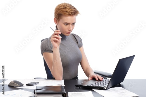 Young woman busy by working