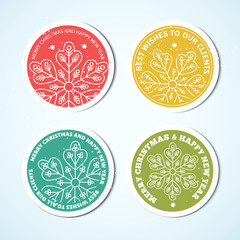 Christmas labels. Set of badges for Xmas design