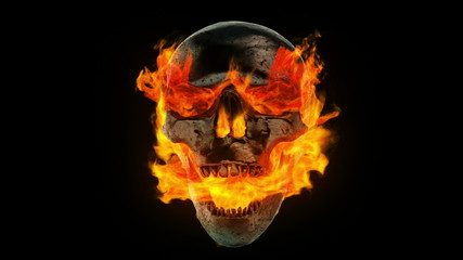 Burning metal skull