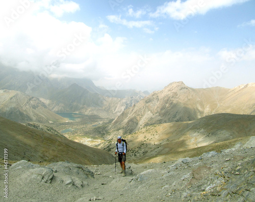 Hiking in the mountains in summer.