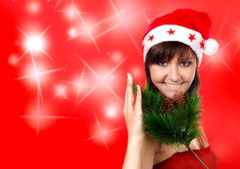 Charming young woman in santa cap