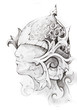 Tattoo sketch of warrior head, hand made