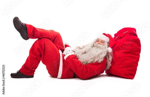 Santa Claus lie on bag
