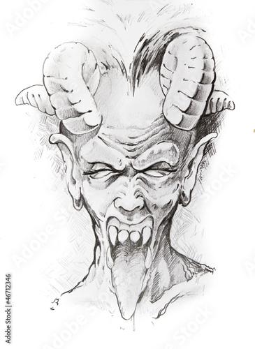 Tattoo sketch of devil head, hand made