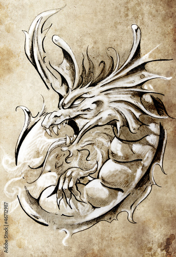 Sketch of tattoo art, medieval dragon, vintage style