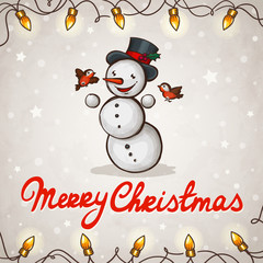 Snowman greeting card Merry Christmas