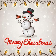 Snowman greeting card Merry Christmas