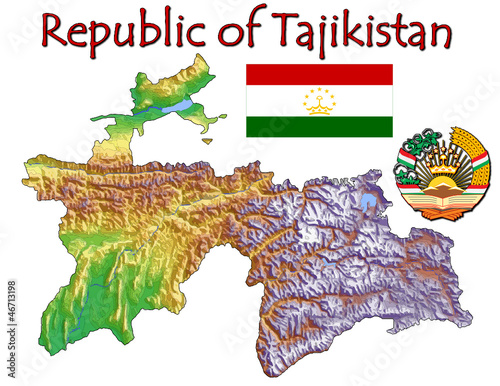 Tajikistan Asia national emblem map symbol motto