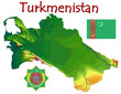 Turkmenistan Asia national emblem map symbol motto