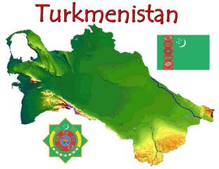 Turkmenistan Asia national emblem map symbol motto