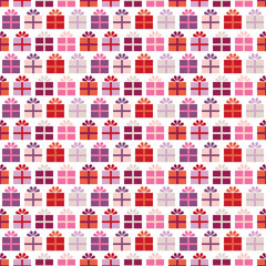 Seamless Pattern Gifts Retro Red/Pink/Purple White