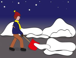 Schneeschaufeln im Morgengrauen