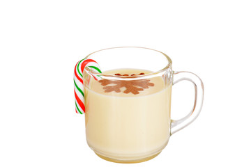 eggnog with a candy cane