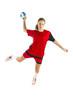 portrait einer jungen schönen blonden handballerin freigestellt