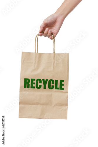 Paper Bag Carrying Isolated On White Background.