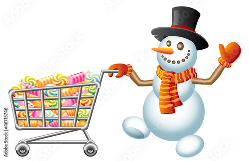 Snowman and shoppingcart