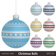 Christmas ornaments with star stripes pattern, decoration, set