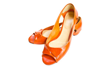 Woman Orange Leather Shoes.
