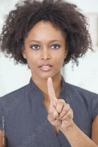 African American Woman Businesswoman Touchscreen