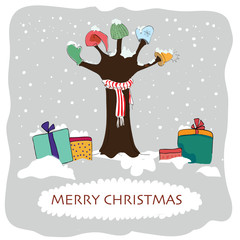 Greeting card with cartoon tree and gifts