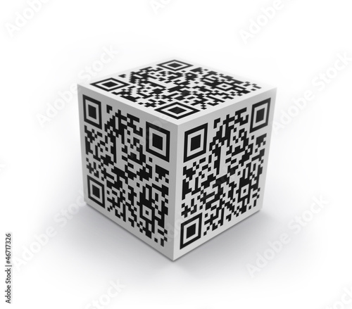 3D cube with QR code isolated
