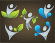 vector collection of ecological people on dark brown background