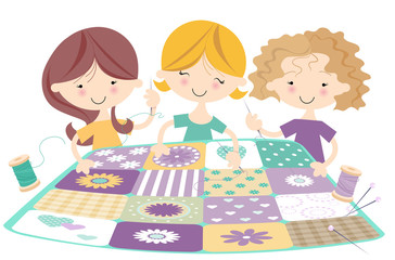 Quilting Bee- Girls sewing together