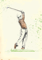 golfer (hand drawing into vector, 6 layers)