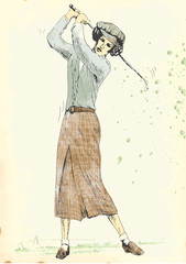 golfer (hand drawing into vector, 4 layers)