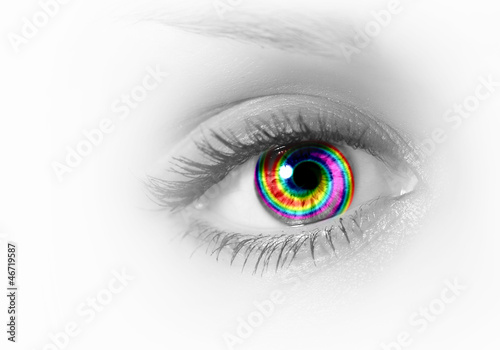 Human eye on grey background