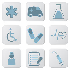 Medical blue icons