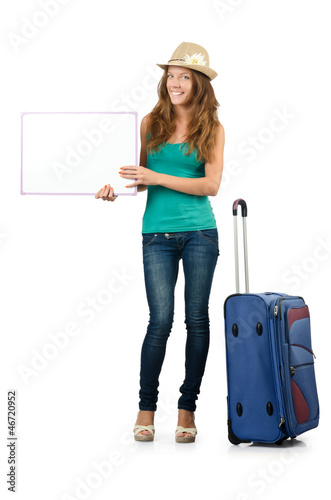 Young traveller with blank board