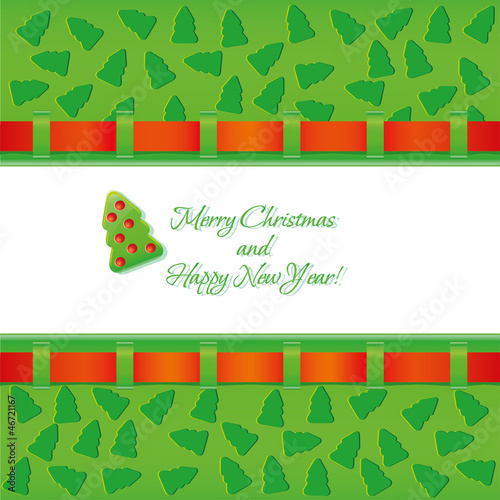 Christmas background with red ribbon and fir tree EPS 10.0