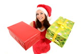 Woman in santa claus costume presenting gifts