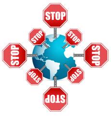 stop sign around the globe