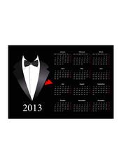 Vector European calendar 2013 with elegant suit