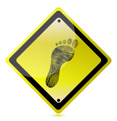 yellow footprint sign