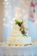 multi level white wedding cake