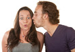 Astonished Woman Kissed by Man
