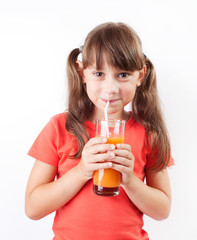 Girl happy to drink fresh juice