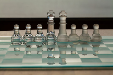 King, pawn, chess - business concept series: merger, competition
