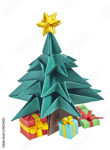 Papier peint un origami arbre de no l origamis - Arbre de noel origami ...