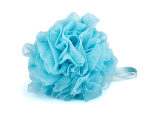 Blue plastic bath puff
