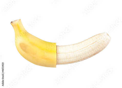 peeled banana in half