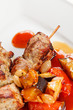 meat kebab with vegetables