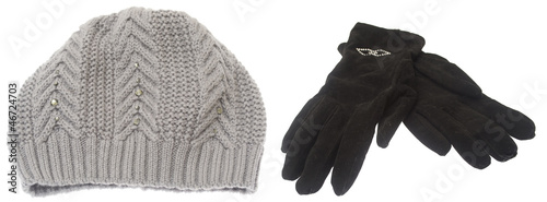 Set of winter hat and gloves isolated on white background.