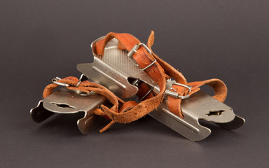 Very old dutch ice skates for a small child