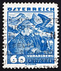 Postage stamp Austria 1929 Bridal Couple from Vorarlberg